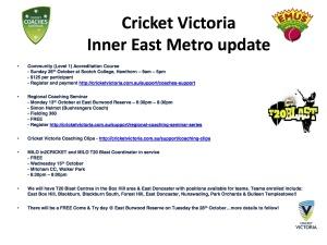 CV Inner East Metro update 30-9-14