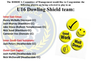 U16 DOWLING SHIELD SELECTION