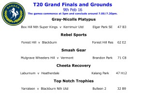 GRAND FINALS FOR T20